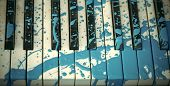 Modern Art. Painted Piano, Musical Style, Grunge Instrument. Pop And Classical Music, Melody, Rhapso poster