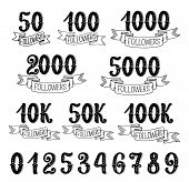 Followers Quantity Number Icons For Social Nets Subscribers. Vector Isolated Numbers Lettering In Re poster