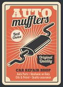 Car Spare Parts Store For Auto Mufflers Retro Poster For Automobile Repair Shop Or Service Center. V poster
