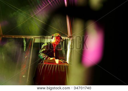 LOULE, PORTUGAL - JUNE 30: Sany Pitbull from Brazil  performs onstage in a world music festival at festival med on June 30, 2012 in Loule, Portugal.