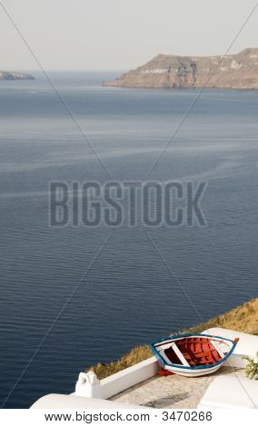 Old Fishing Boat Over Harbor Oia Ia Santorini Greek Island