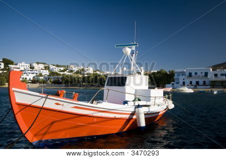 Fishing Boat In Harbor Greek Islands