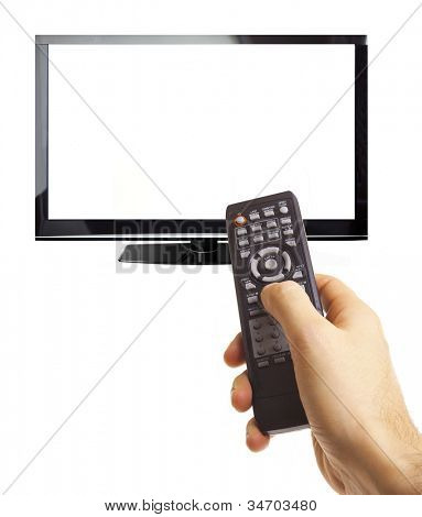 Male hand holding remote control to the TV screen isolated on white