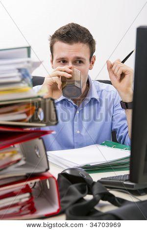 Perseverant Businessman At Work