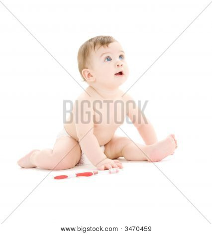 Baby Boy In Diaper With Toothbrush
