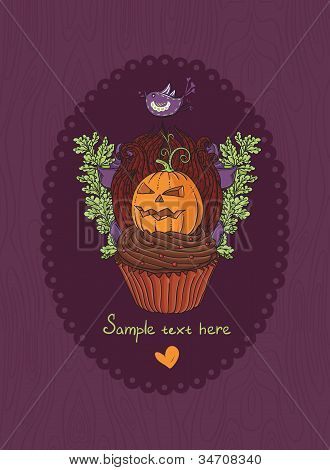 Halloween Cake Holiday Greeting Invitation Card