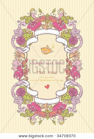 Vintage style card with flowers