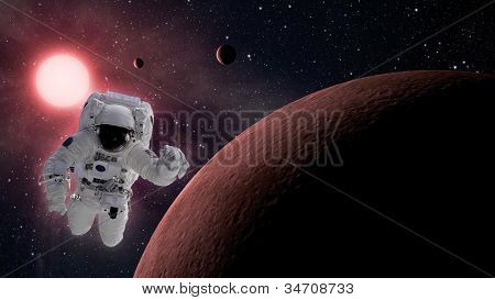 Small Planetary System With Astronaut In Space