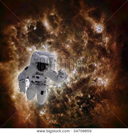 Astronaut In Space With Galaxy In Background