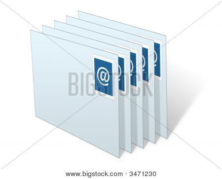 E-Mail Envelopes Stacked In Inbox