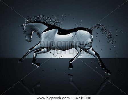 water running horse over white