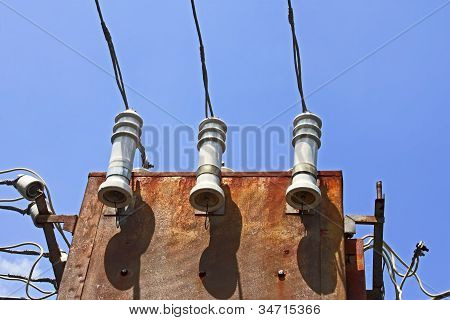 Detail of old electrical transformer