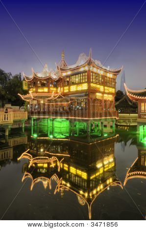 Shanghai Old Tea House At Night