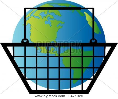 Shopping Basket With Earth.