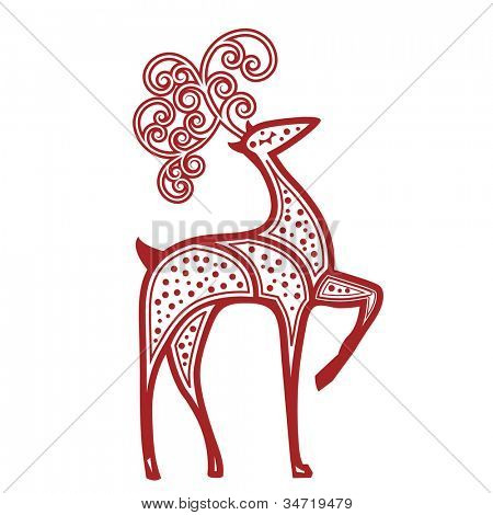 Stylized reindeer red dots