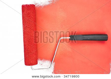 Horizontal red brush stroke against a white background