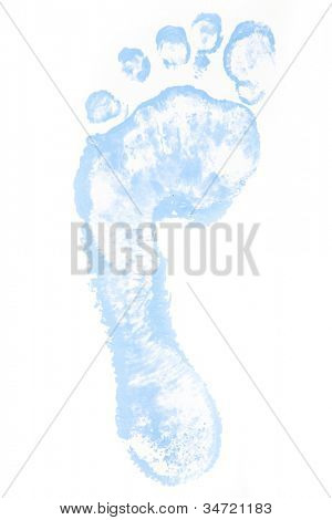 One blue footprint against a white background