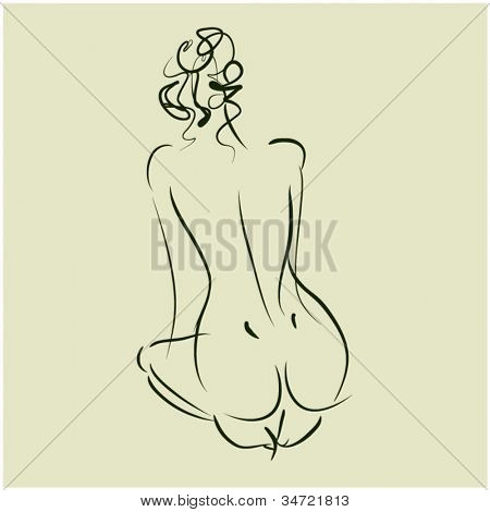 art  background with sitting beautiful young woman sketch vector