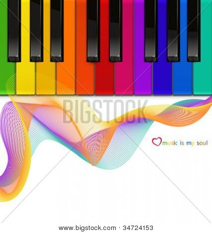 vector colorful piano keyboard on a white background