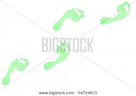 Four green footprints against a white background