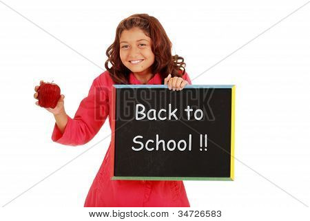 Young girl happy back to school with chalk board