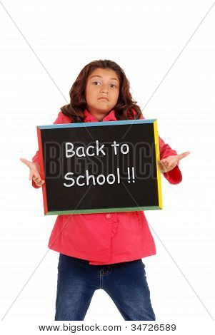 Young girl unhappy back to school