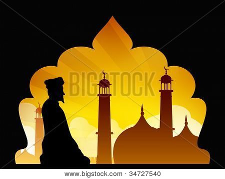 Silhouette of a Muslim man reading Namaz in Mosque or Masjid. EPS 10.