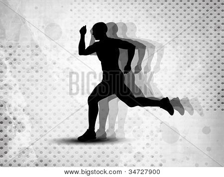 Silhouette of a man athlete running on grungy grey abstract background. EPS 10.