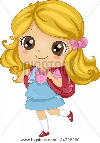 Illustration Featuring a Girl Carrying a Backpack