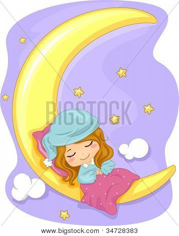 Illustration Featuring a Girl Sleeping Soundly