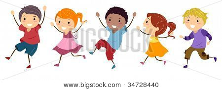 Illustration Featuring Kids Skipping Happily