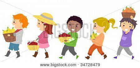 Abbildung mit Kinder tragen Körbe mit Früchten