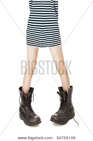 Old Leather Military Boots, Striped Singlet On Woman Feet