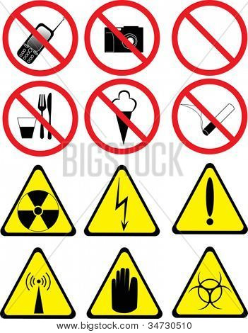 illustration with set of prohibitory and warning signs isolated on white