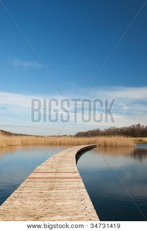 Wooden platforms in nature water lake