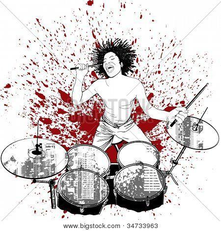 vector illustration of a drummer on grunge background