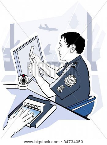 Vector illustration of passport check control at the airport