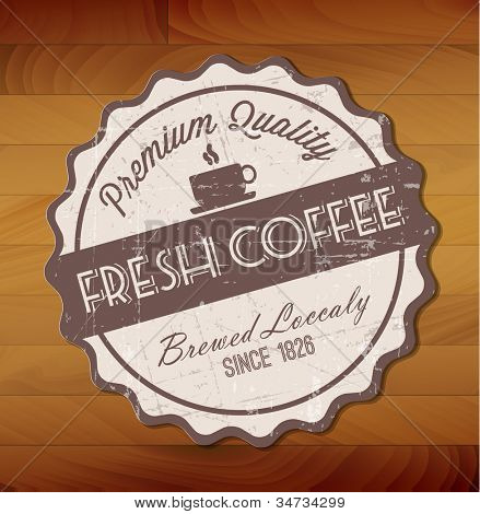 Vector grunge retro vintage background with coffee label and place for your text