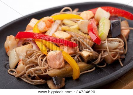buckwheat noodles with seafood,  japanese cuisine