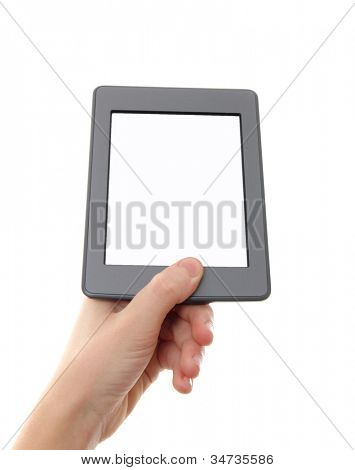 Empty e-reader and hand. The reader is deprived of all brand names and buttons.