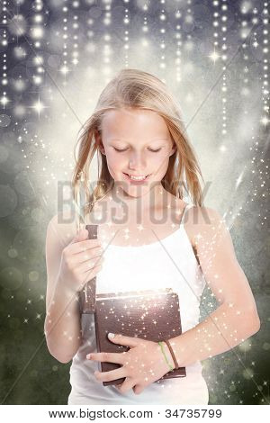 Girl Opening A Gift Box