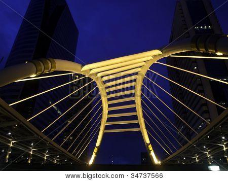 Skywalk At Bangkok Downtown Square Night