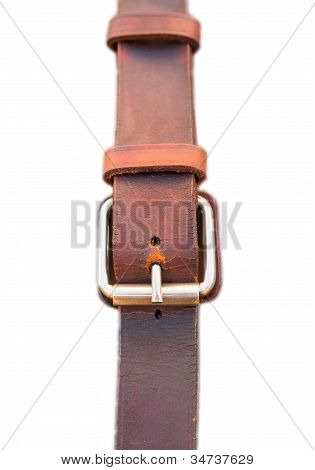 Leather belt on white