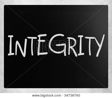 """""""integrity"""" Handwritten With White Chalk On A Blackboard"""