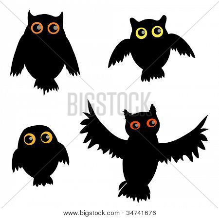 Cartoon Owl siluet (vector version)