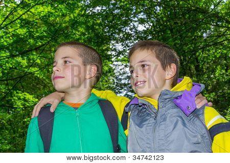 Portrait Of Two Hugging Boys, Tweens