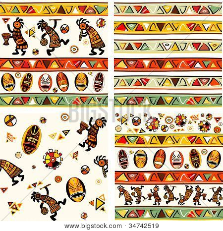 Collection of seamless background with african traditional patterns. Rasterized version of vector illustration