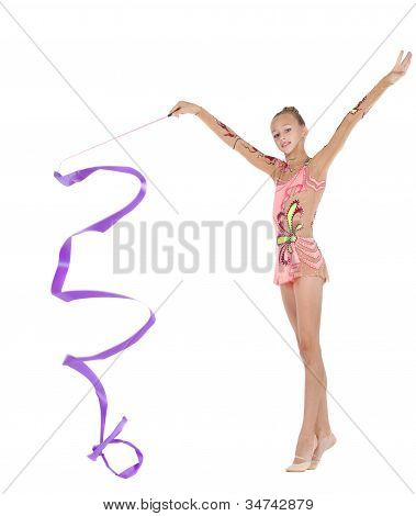 Gymnast Performs An Exercise