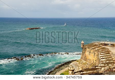 Cargo Ship Sails By El Morro