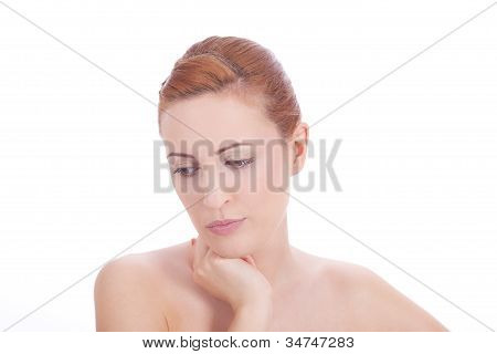 Portrait Of Young Beautiful Woman With Perfect Face Natural